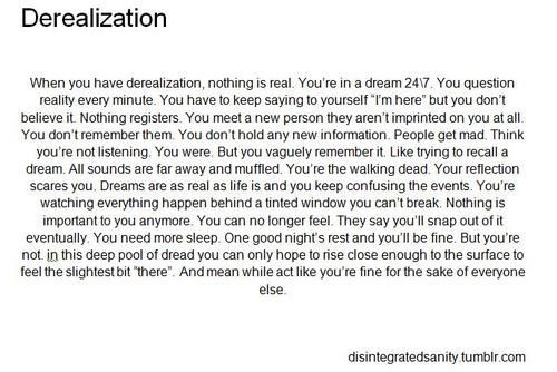 Depersonalization Disorder Tumblr
