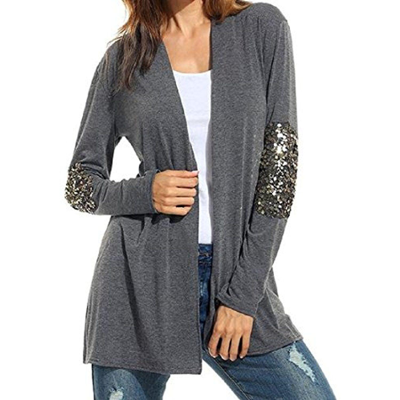 e51e4fe471954 Women Long Sleeve Sequins Splice Casual Cardigan Coat Outwear ...