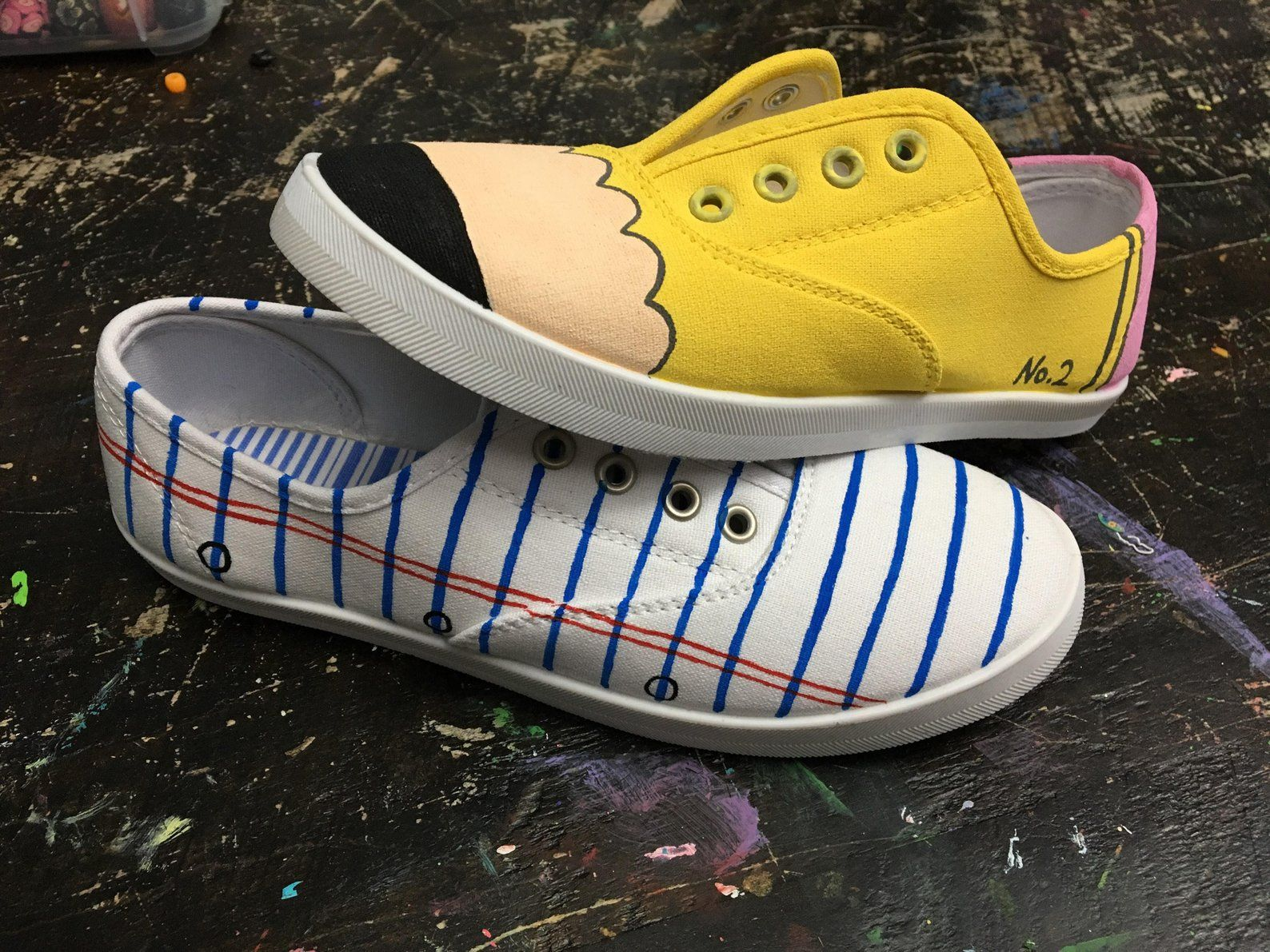 Pencil and paper handpainted shoes #teachergifts