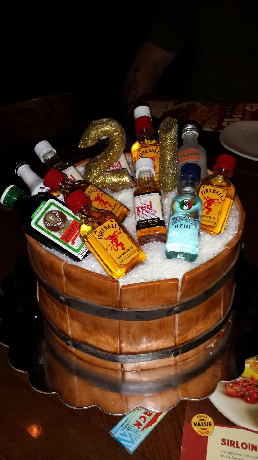 21st Birthday Tiered Cake With Liquor Bottles Popping Out