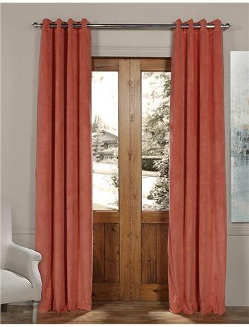 Signature Desert Coral Grommet Blackout Velvet Curtain Velvet Curtains Cool Curtains Layered Curtains