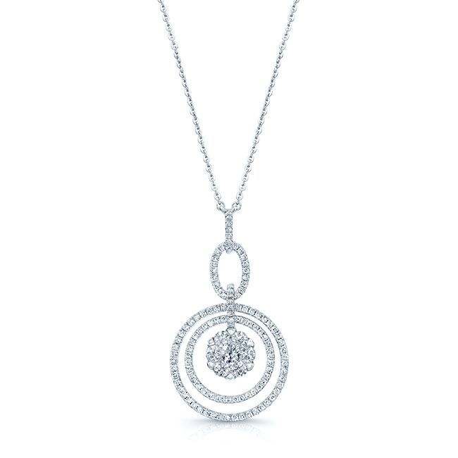 14k Gold 1 1/4ct TDW Diamond Cluster Circle Necklace
