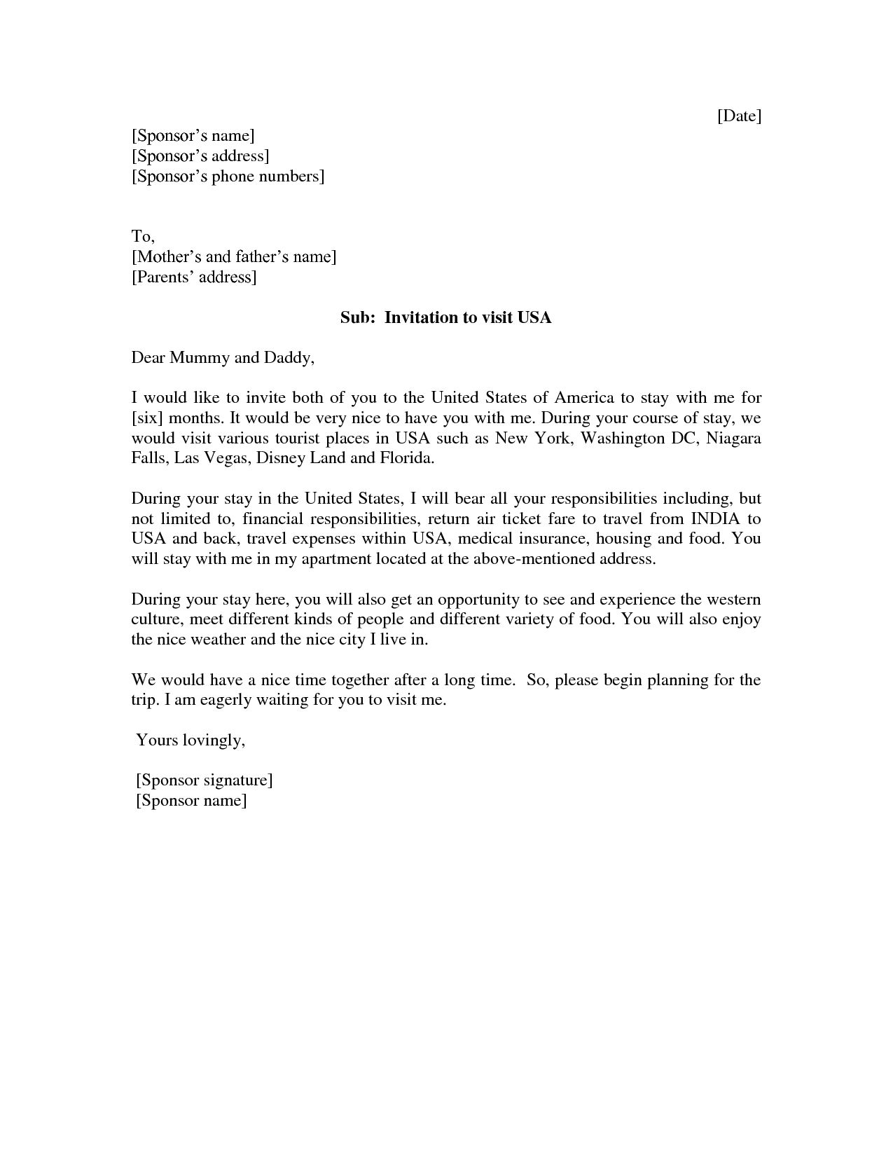 How To Write A Visa Invitation Letter For B2 Visa Vision