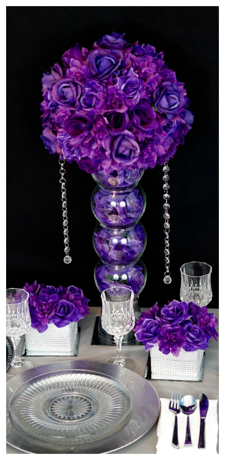 Diy Purple Passion Wedding Centerpiece In 3 Easy Steps Pinterest