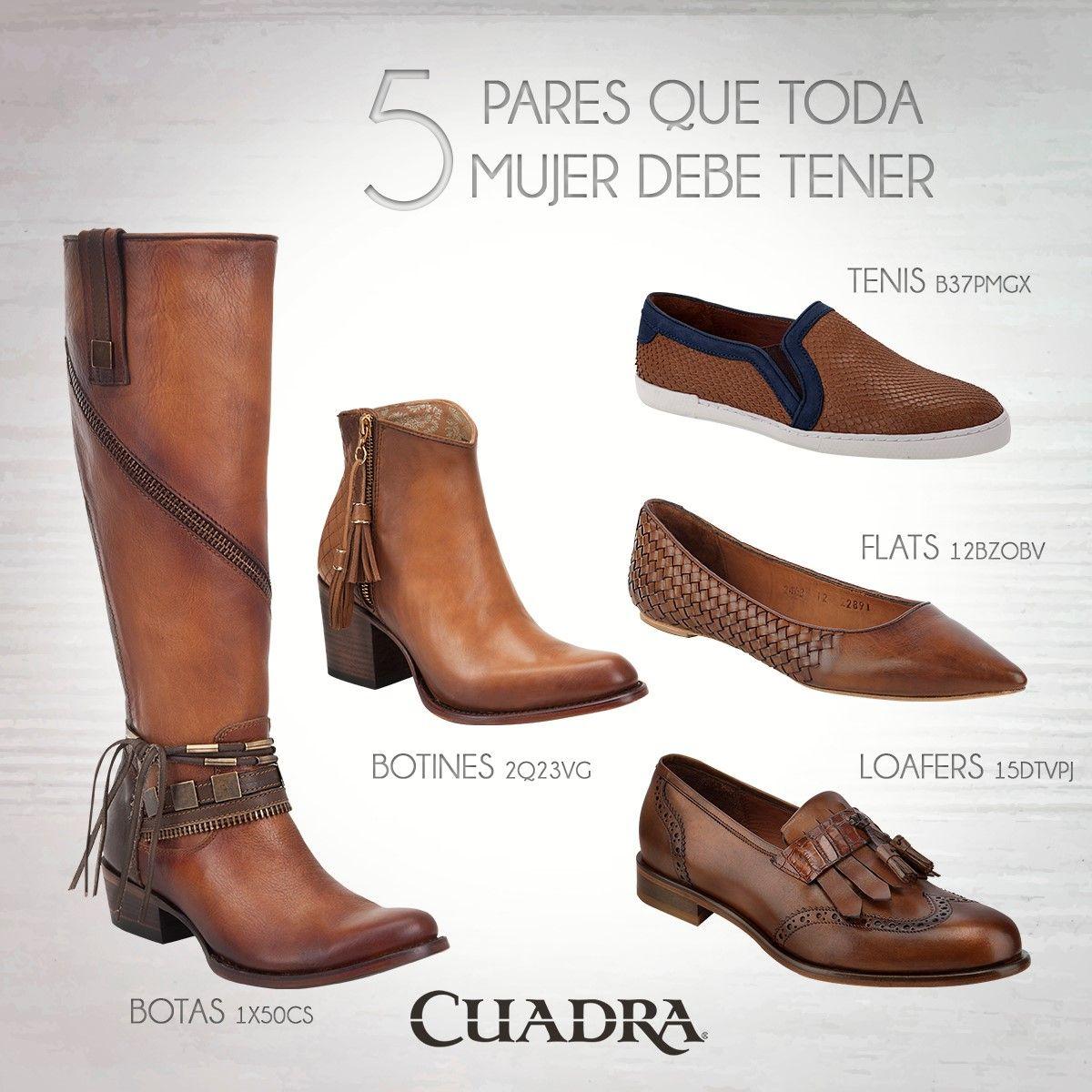 44ab3370 En tu armario mínimo debes tener un par de cada categoría. #CUADRA #Shoes  #Flats #Zapatos #Botas #Boots #Botines #Loafers #tenis