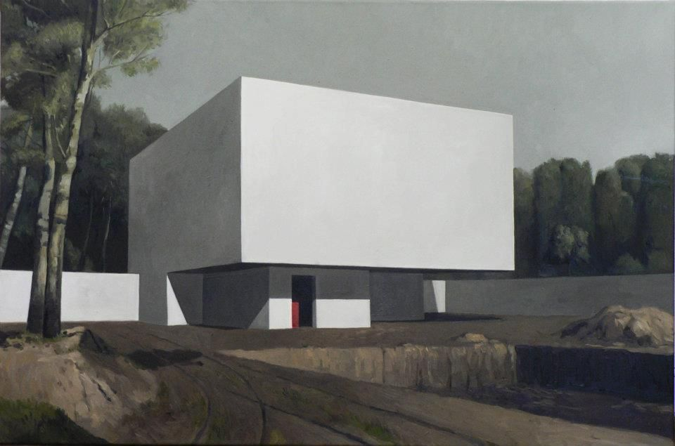 'red box in a white cube' 2008 80x100