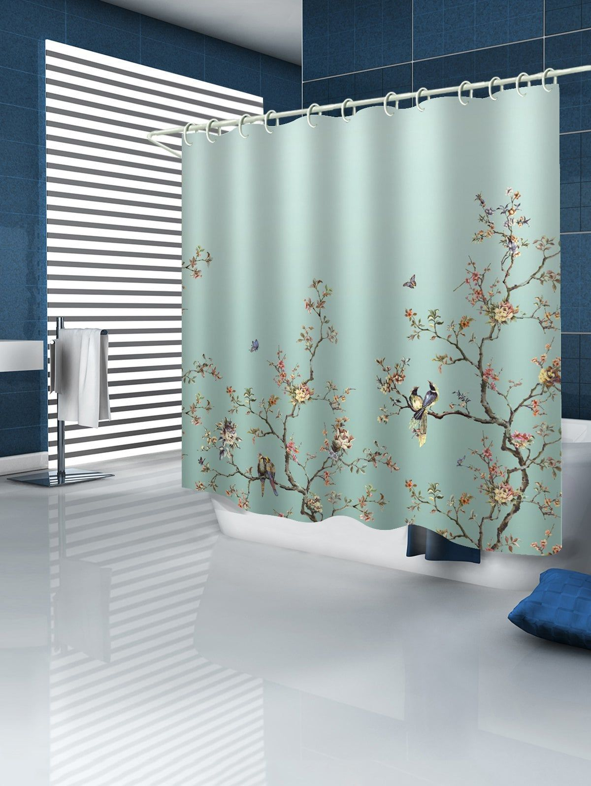 Birds Tree Branch Flower Print Shower Curtain