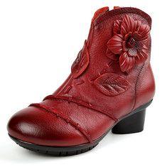 SOCOFY Vintage Ankle Flower Pattern Stitching Stitching Pattern Zipper Leder Stiefel a1f2ff