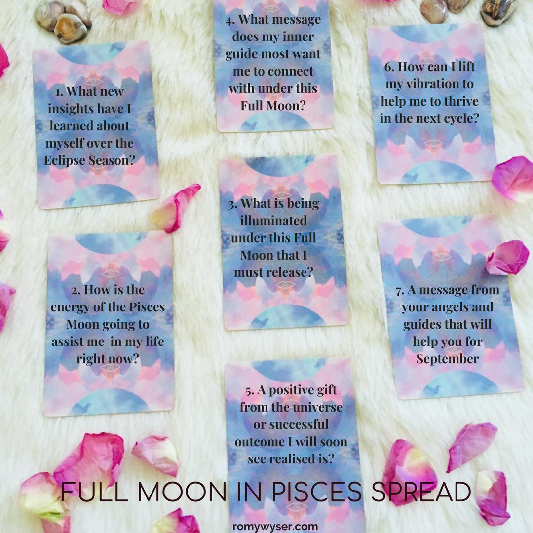 Full Moon in Pisces Tarot Spread #fullmoontarotspread #piscesfullmoon #fullmoontarotspread
