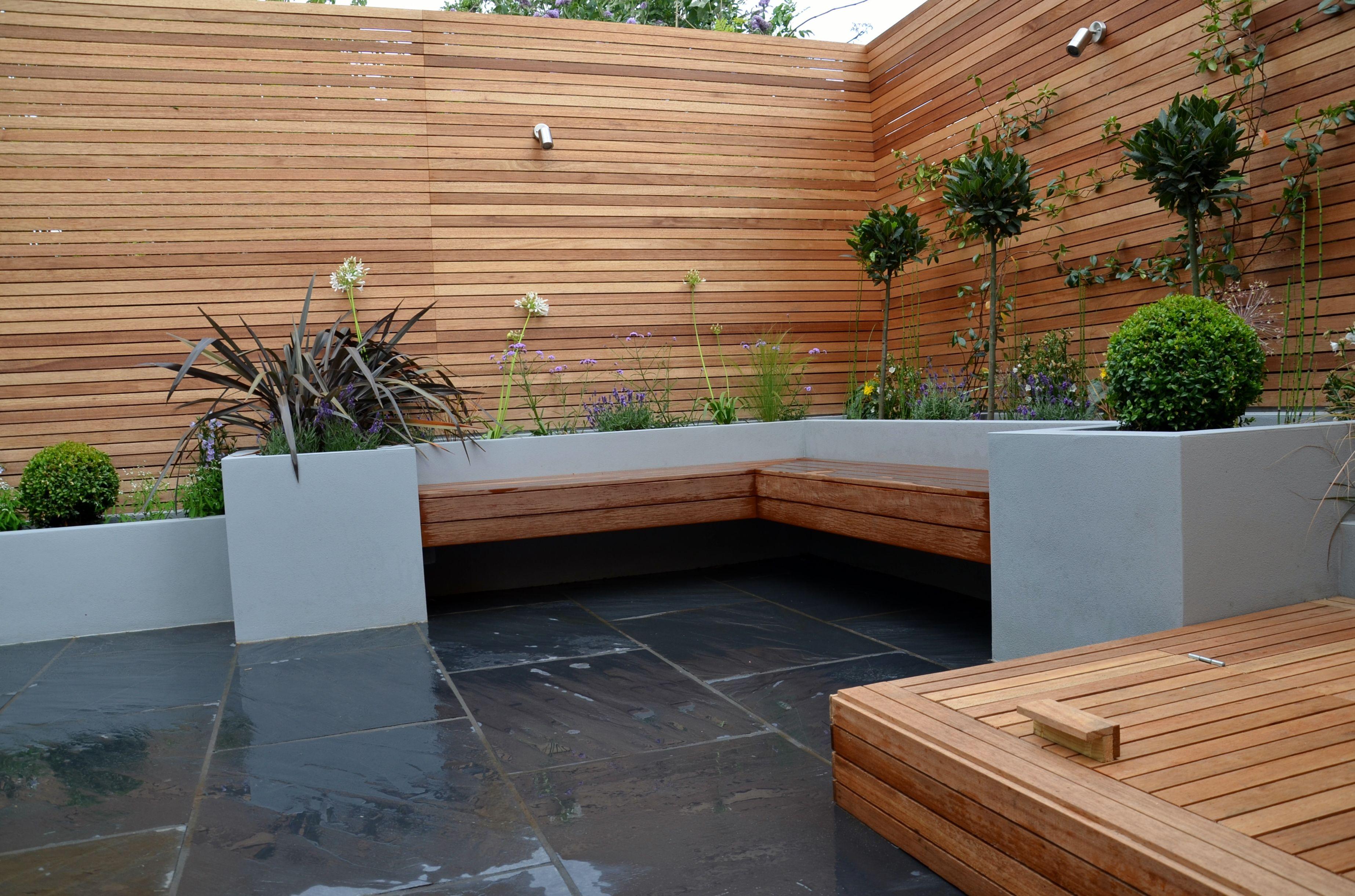 trellis lighting. Modern-garden-design-raised-plaster-beds-hardwood-screen- Trellis Lighting