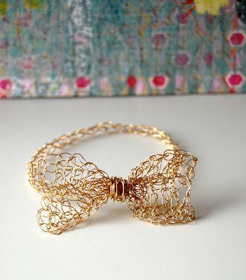 crocheted bow bracelet