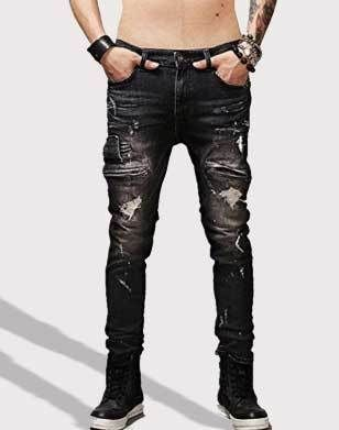 e119ef25 Krralinlin Men's Slim Fit Black Stretch Distressed Ripped Skinny Biker Jeans
