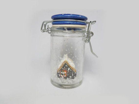 "Clay house into snow jar, ""waterless"" snow jar, original holidays decor, Christmas gift, holidays decor, stocking stuffer on Etsy, $15.56"
