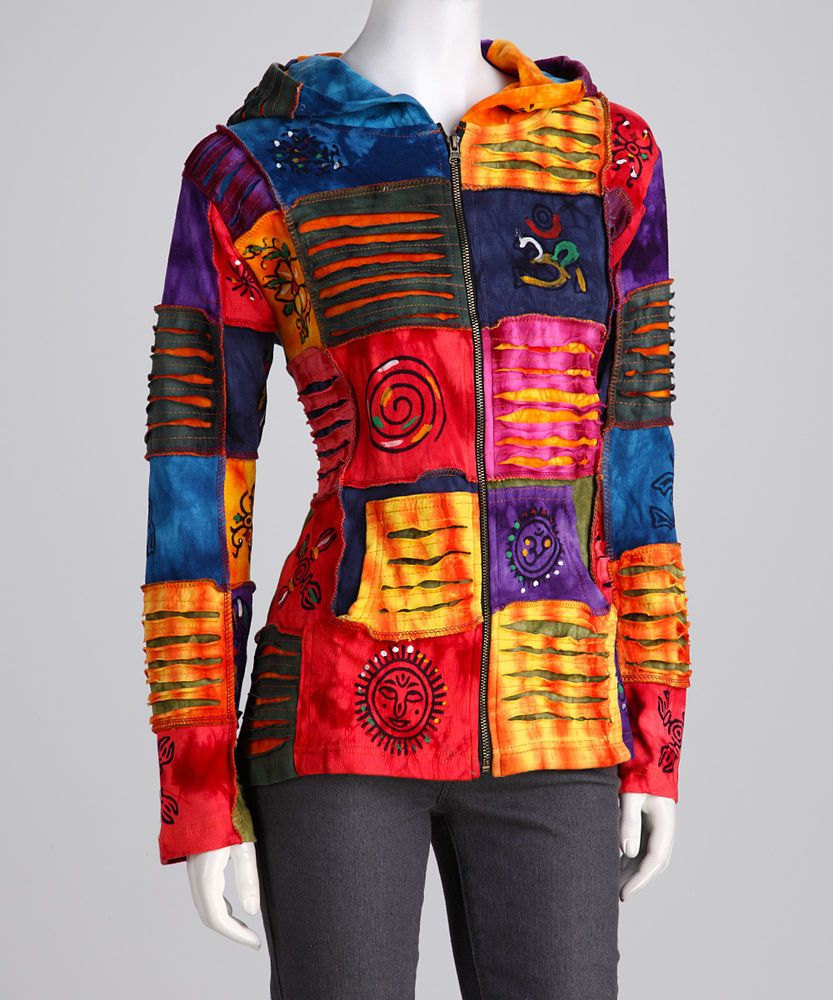 Multicolored Hippie Pointed Hoody Elf Long Patchwork Goth Punk Emo Over Coat