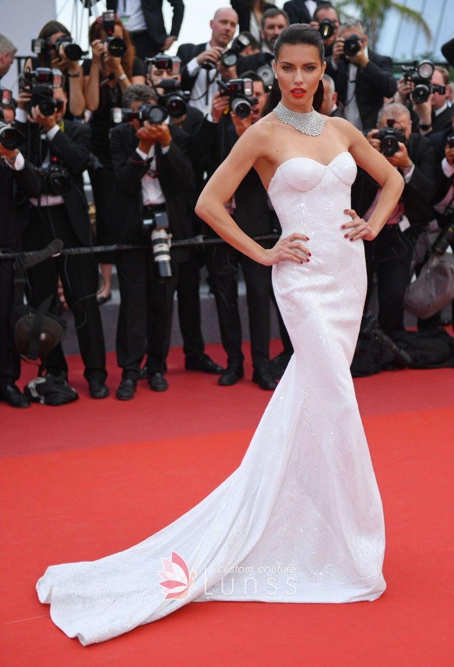 Lima Strapless Sweetheart Long White Dress 2017 Cannes Film Festival