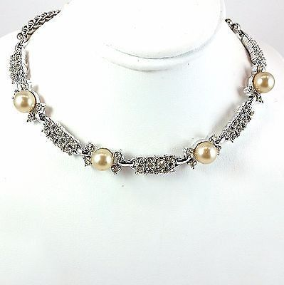 Faux Pearl Necklace Vintage White Rhinestone 15in Silver Tone Choker Formal n365