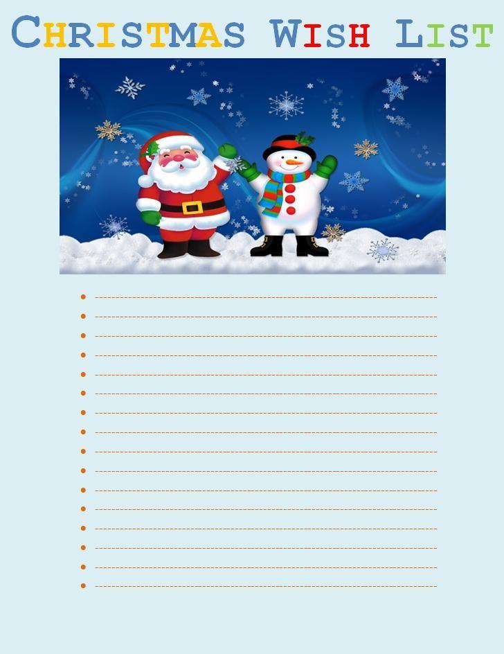 Images Of Free Printable Christmas Wish List Templates  Unit
