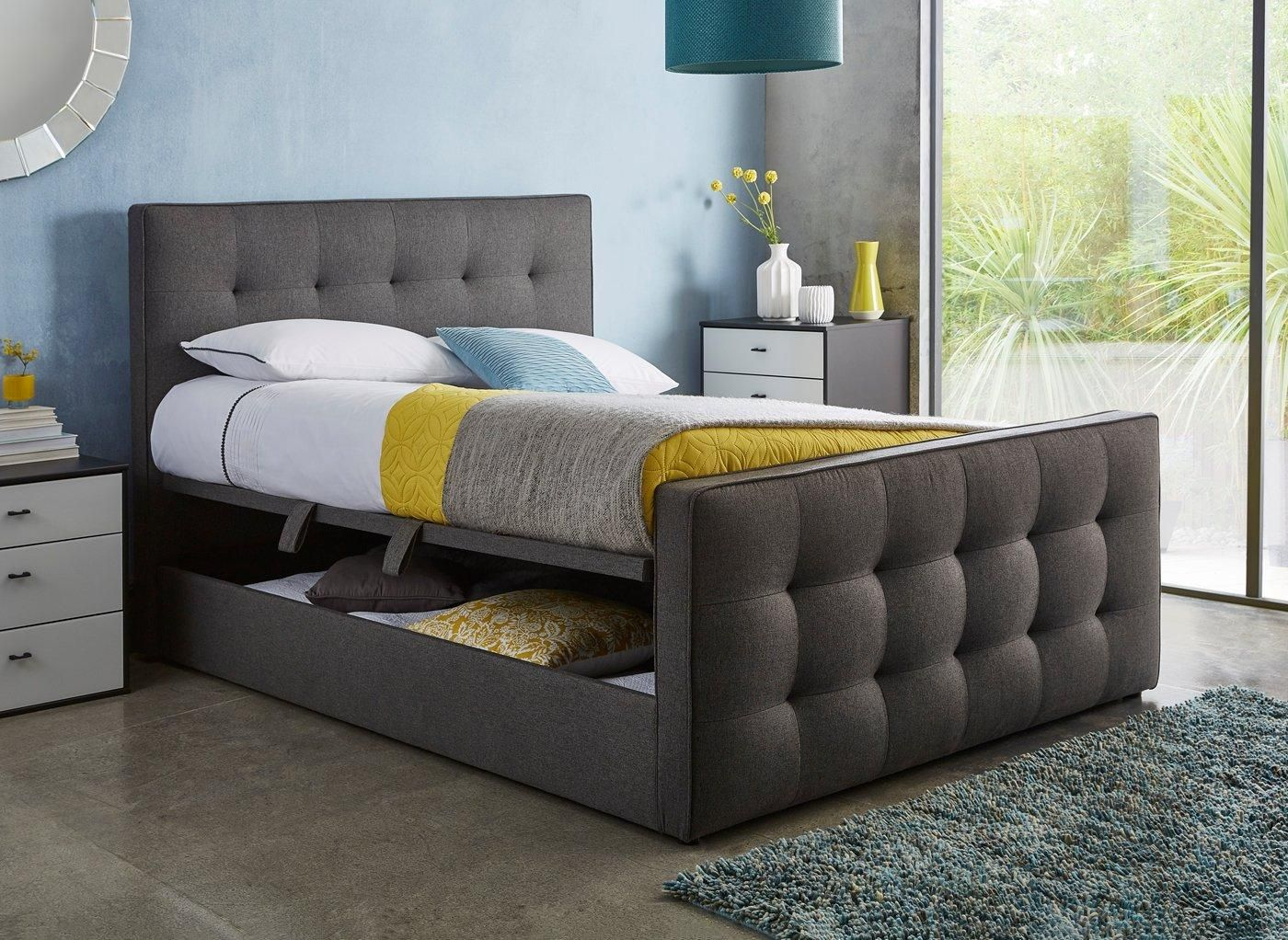 Cavill Slate Grey Fabric Ottoman Bed Frame 5 0 King In 2020 Bed
