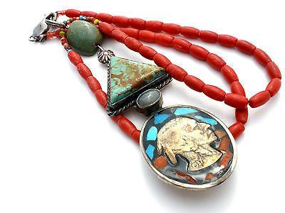 Sterling Silver Buffalo Nickel Coral Turquoise Mosaic Pendant Necklace Vintage