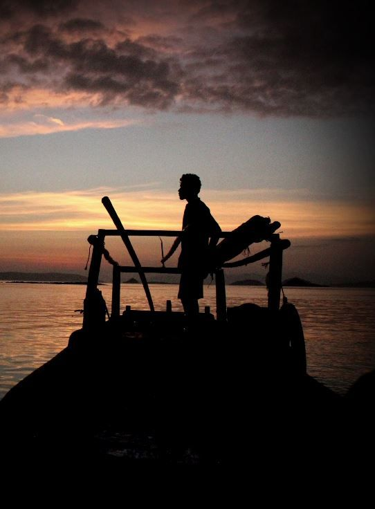 Sillhouetes: A man waits for the flying foxes in Komodo ...