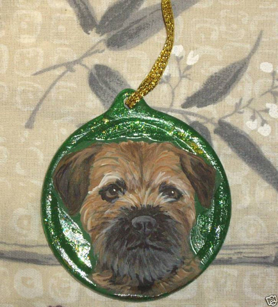 Border Terrier Dog Custom Hand Painted Christmas Ornament