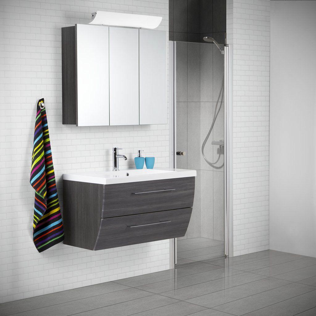 Scanbad Rumba Waschplatz mit Spiegelschrank 90, Pine grey