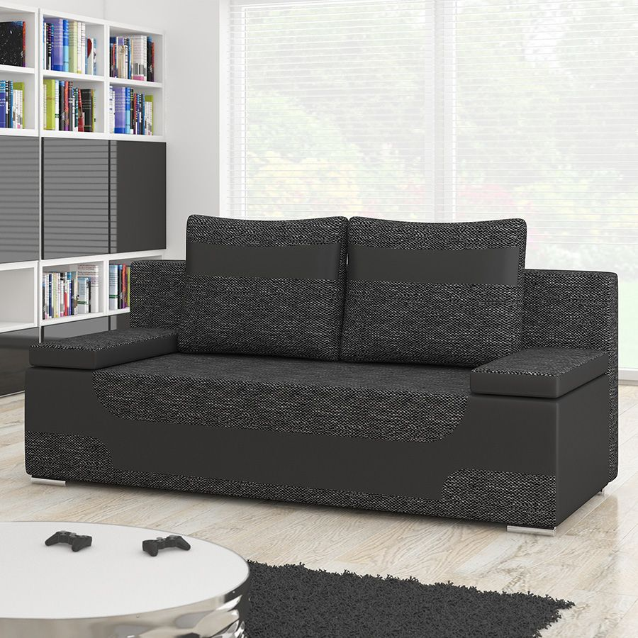 Canape 2 Places Convertible Noir Guli 10 Sofa Couch Furniture