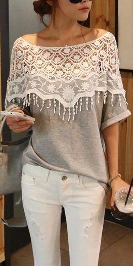 c6c082b0ed68 Cute Gray Lace Top With White Pant || Bateau Neck Half Sleeve Pierced Gray  Cotton T-shirt.