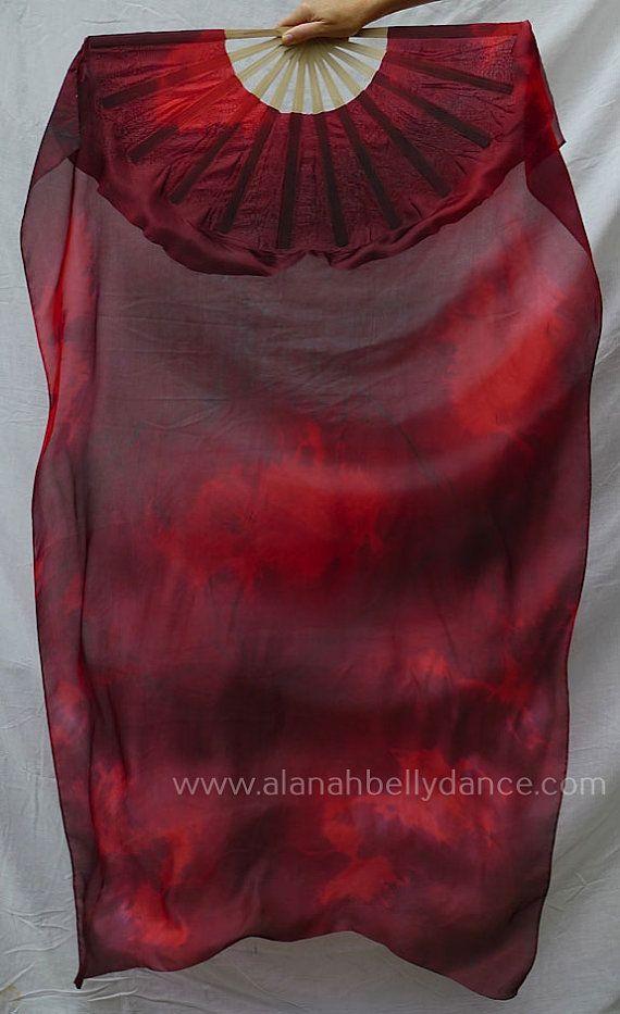 Nebula Design Silk Fan Veil Set -Fire Red and Black (A Top Seller!)