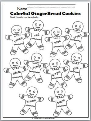 color words gingerbread cookies winter school activities christmas worksheets preschool. Black Bedroom Furniture Sets. Home Design Ideas