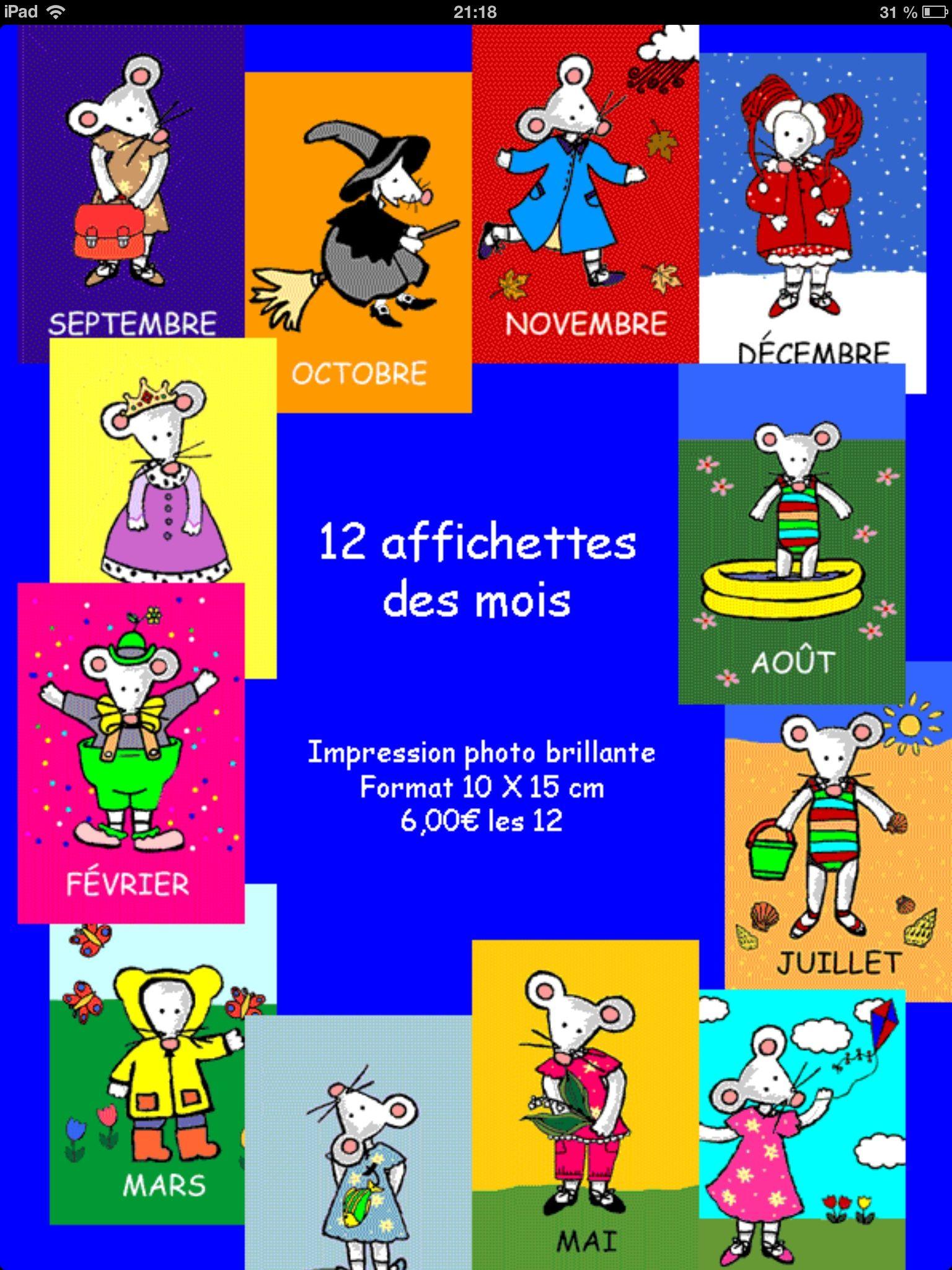Les Douze Mois De L Année : douze, année, Affichettes, Illustrer, Douze, L'année., Petite, Souris,, Rimini