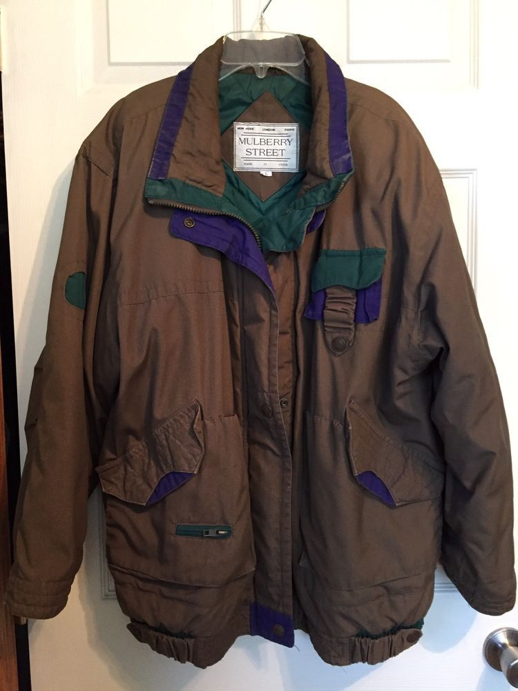edf94176407c MULBERRY STREET BOMBER JACKET Mens Size LG KHAKI GREEN QUILTED CASUAL COAT   MULBERRYSTREET  JACKET