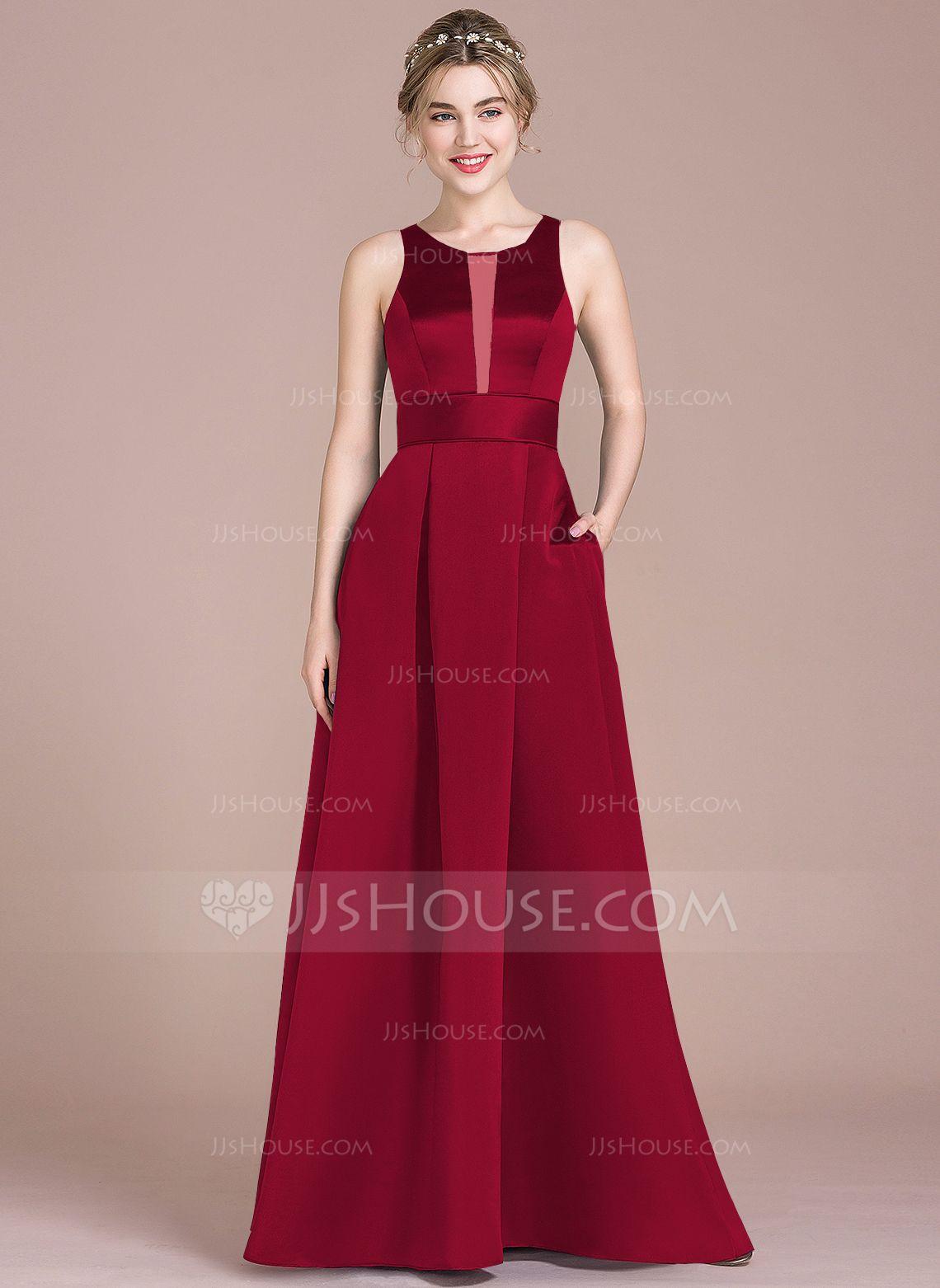 Vestidos princesa formato a decote redondo longos cetim vestido de