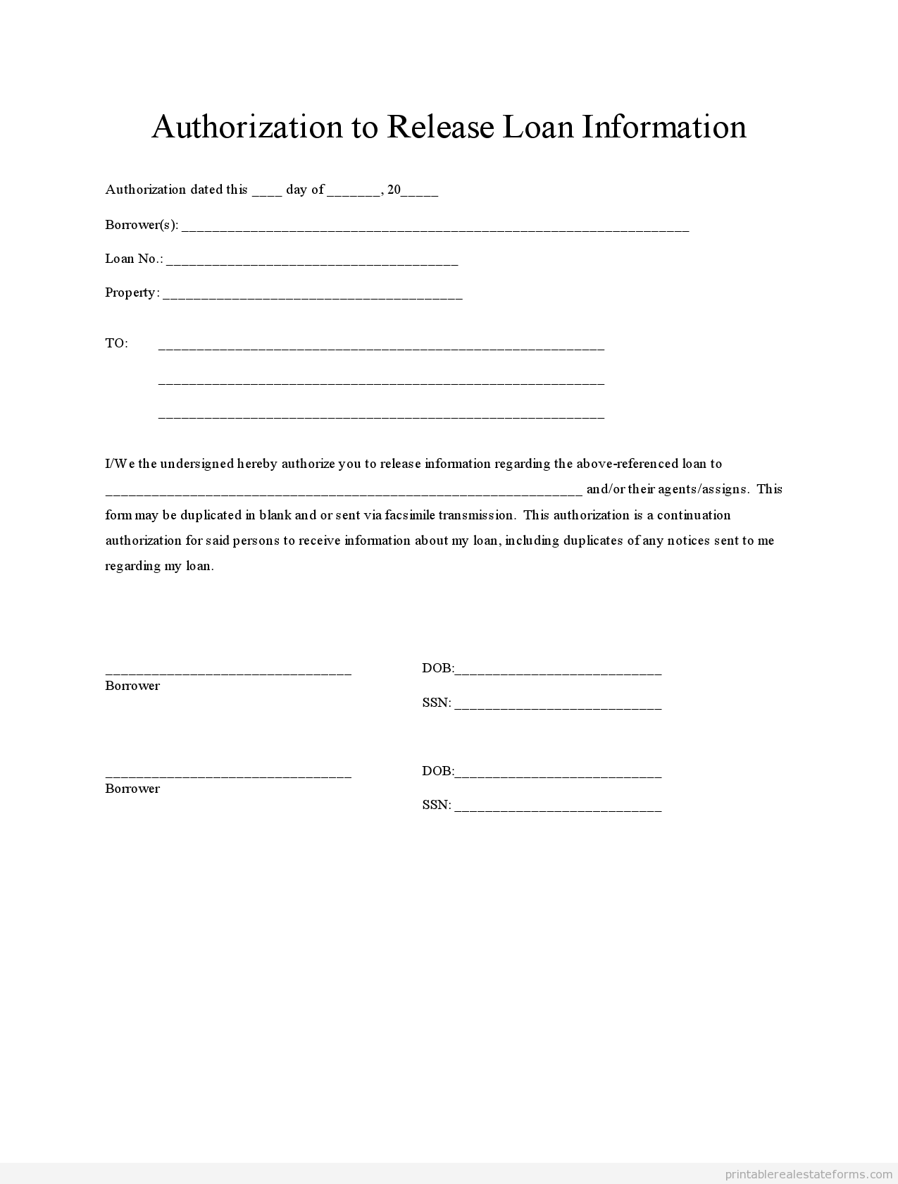 Free Loan Authorization Form Printable Real Estate Forms Real Estate Forms Real Estate Templates Document Templates