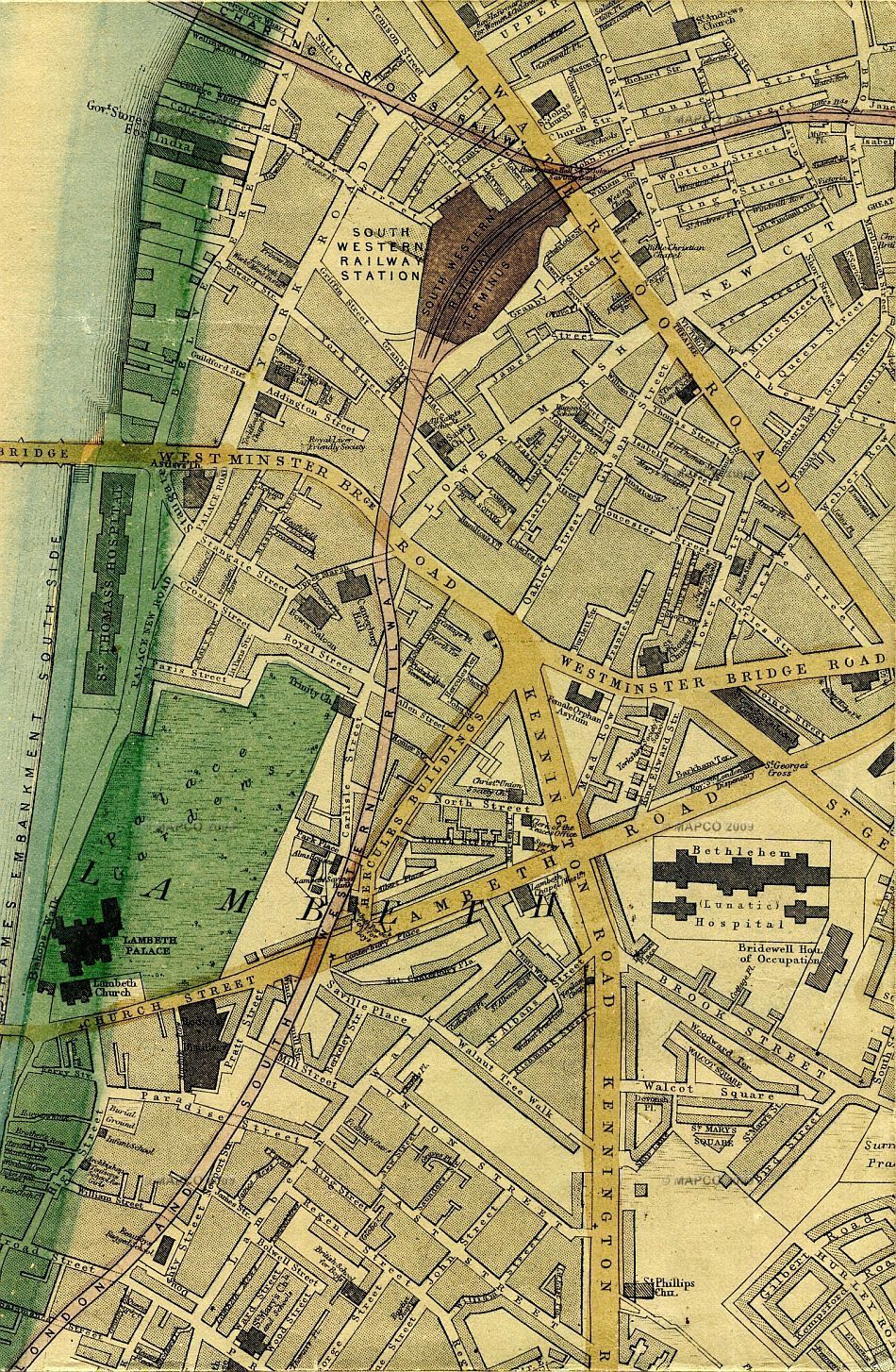 1868 map of thames embankment south side and lambeth etc