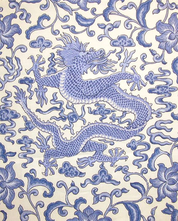 Scalamandre Chien Dragon blue on white | Chinoiserie ...