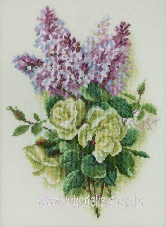Схема вышивки сирень и розы