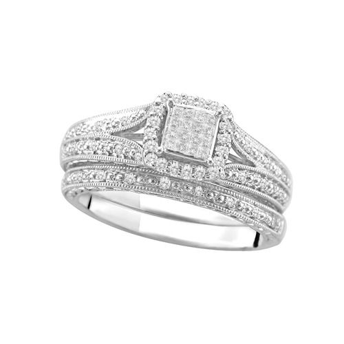 Sterling Silver Bridal Set Walmart Wedding Rings Wedding Rings Diamond Bridal Sets