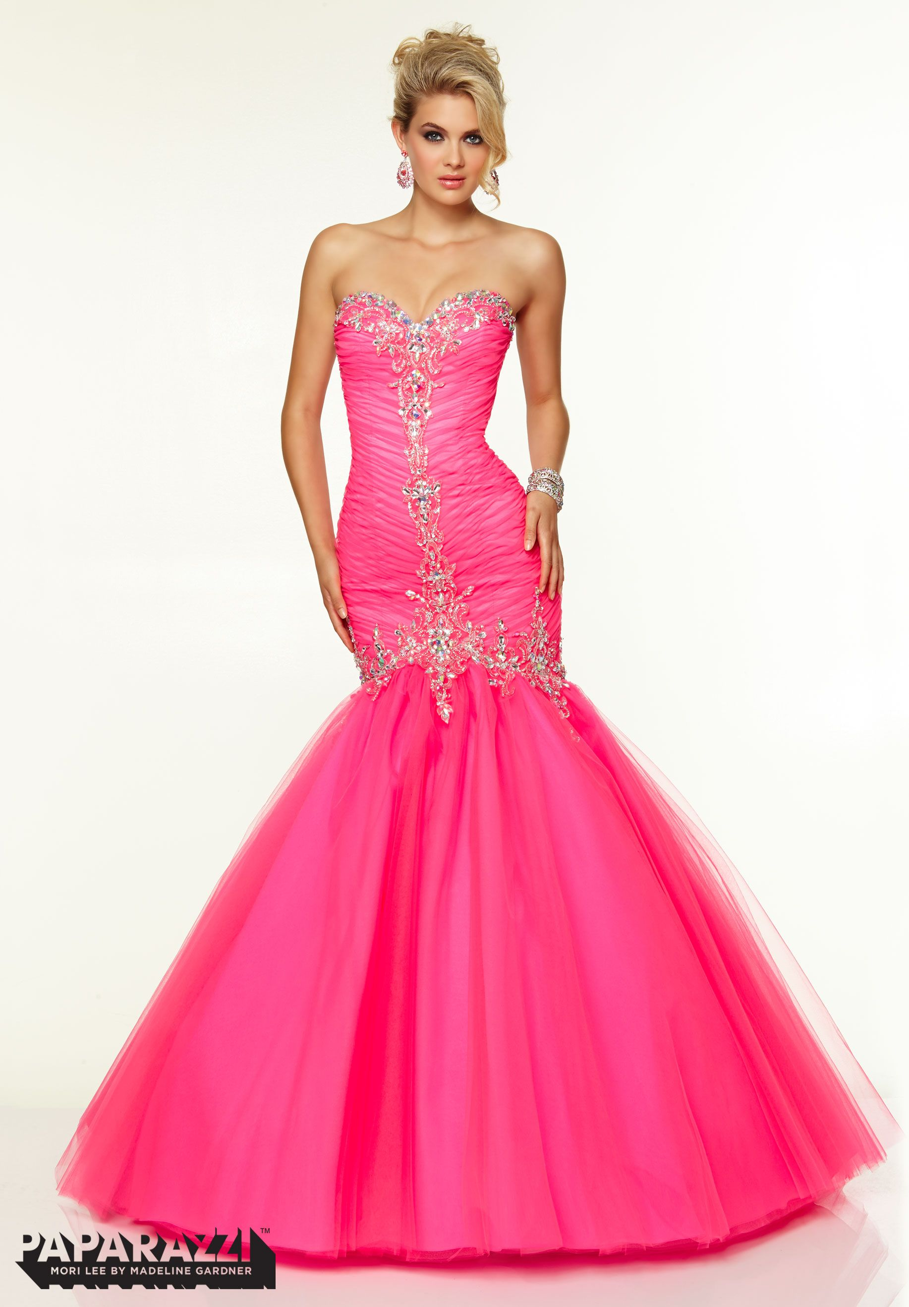 97084 Prom Dresses / Gowns Tulle with Jeweled Beading Hot Pink ...