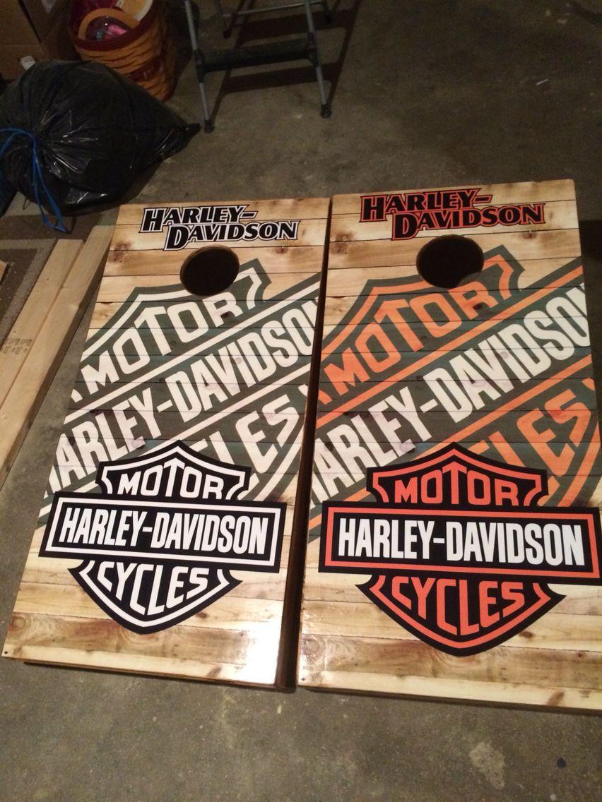 Harley davidson cornhole board bag game set harley stuff for Geschenk einrichtung
