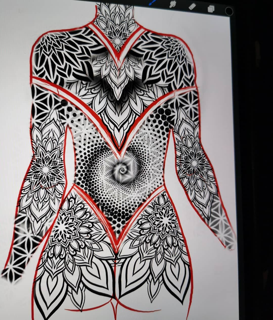 No photo description available. Intricate tattoo, Chest