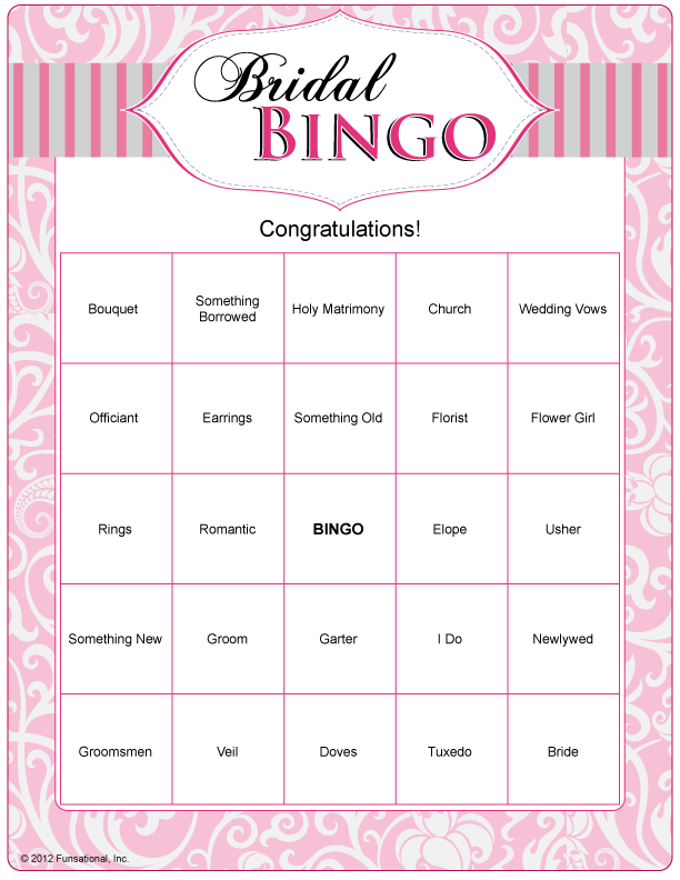 "Bridal Bingo. Can Do With ""wedding Words"" And Just Play As"