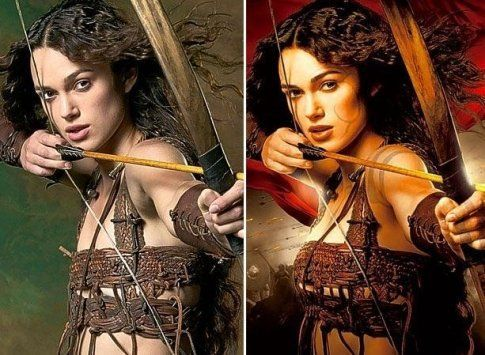 """PHOTO SHOP hall of SHAME: Keira Knightley in the """"King Arthur"""" movie promotional poster image. She goes from naturally thin and small-chested to a D cup in every promotion she's featured in!"""