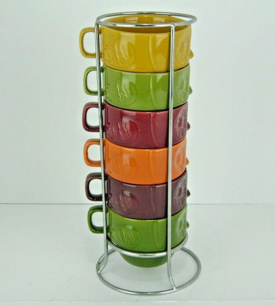 World Market Stacking Mugs Set Of 6 Colorful Owls Chrome Stand 8
