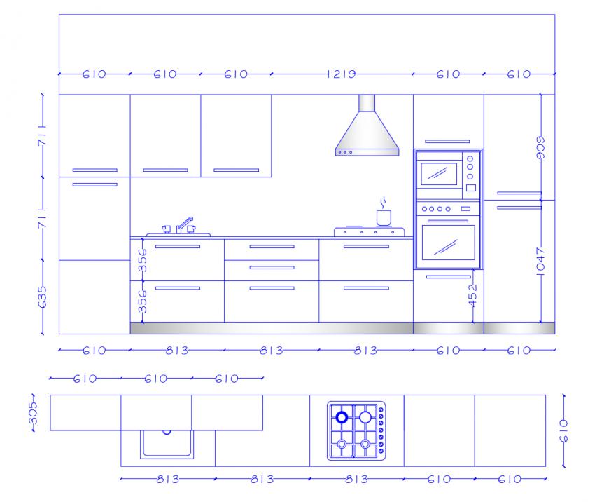 Plan And Elevation Of Kitchen Interior 2d View Autocad File Cadbull Kitchen Layout Plans Kitchen Interior Kitchen Drawing