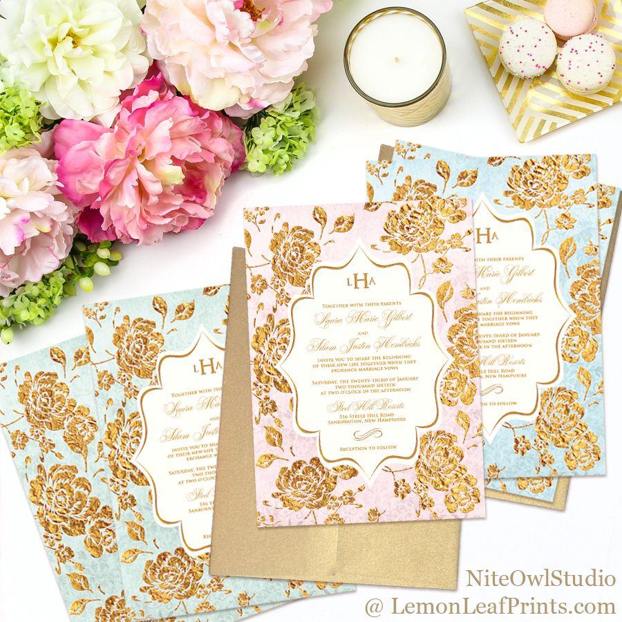 Vintage Rose Floral Monogram Wedding Invitation Sets