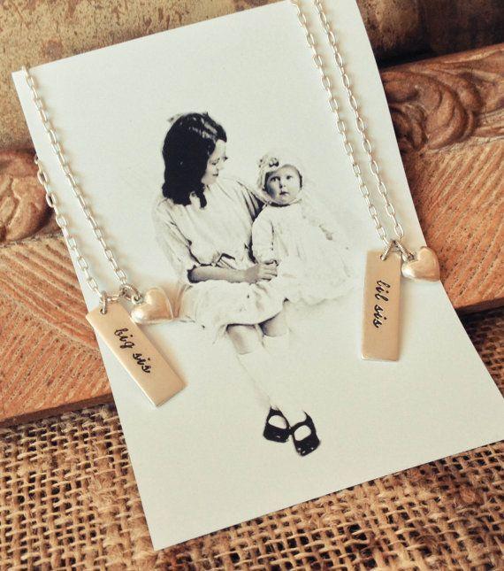 Big Sis Lil Sig Necklace Set: Sister Wedding Gift Sister Necklace Gift Big Sister Little Sister Jewelry