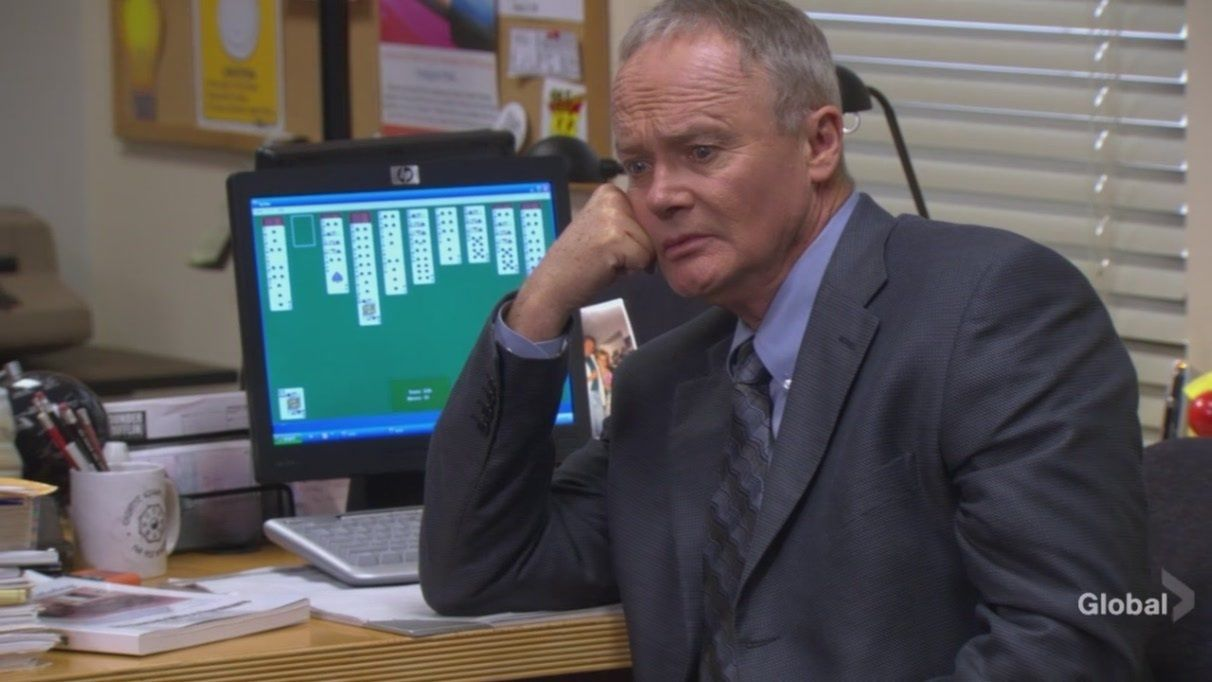 Throughout the series, each time we see Creed at his desk ...