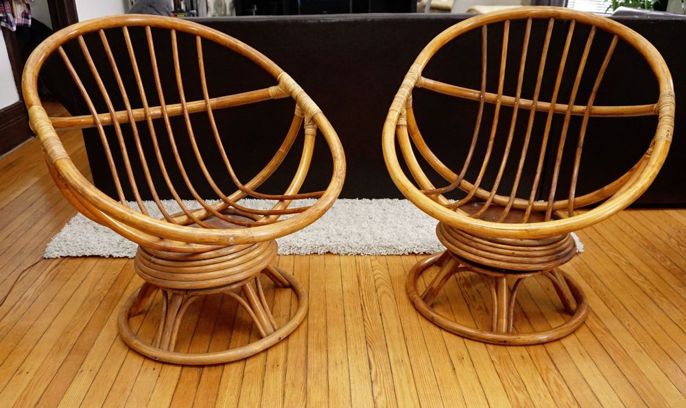 Incredible Vtg Pair Of Mid Century Mod Rattan Bamboo Round Pod Egg Caraccident5 Cool Chair Designs And Ideas Caraccident5Info