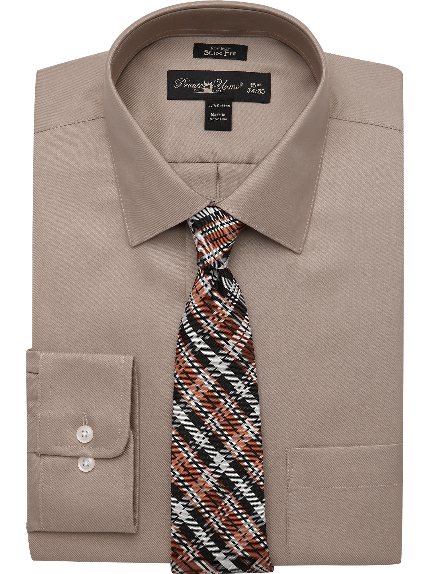 Solid Taupe Shirt & Orange Plaid Tie - Shirt and Tie ... - photo#50